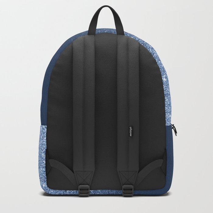 Modern trendy navy peony faux glitter ombre pattern Backpack