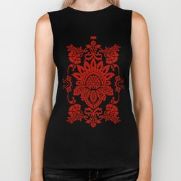 Damask in red Biker Tank
