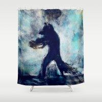 rocket raccoon Shower Curtains featuring Rocket Raccoon by Luca Leona
