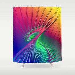 Outburst Spiral Fractal neon colored Shower Curtain