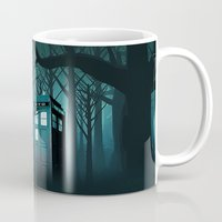 quidditch Mugs featuring Tardis in the Forest of The Night by neutrone