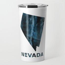 Nevada map outline Dark blue streaked watercolor Travel Mug