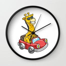 Giraffe with Sunglasses and Car Wall Clock