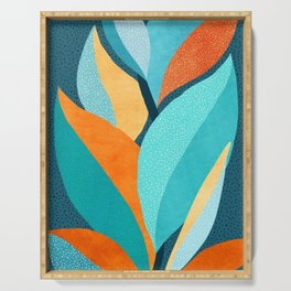 Abstract Tropical Foliage Serving Tray