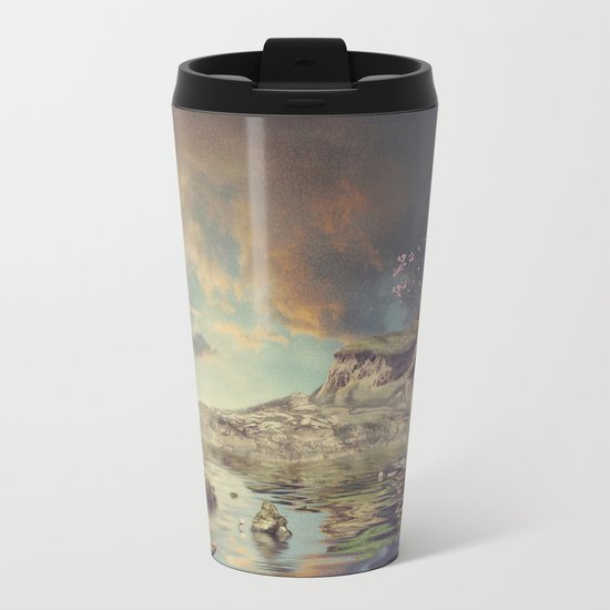 Chinese boat in the mist Metal Travel Mug
