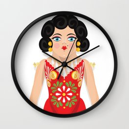 Mexican Paper Doll Wall Clock