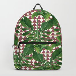 Palms on Checker Triangle Pattern - White Rose Pink Gold Backpack