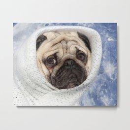 Cute pug face, Pug alien, Sad pug, Pug Planet, Nursery Wall Art, Pug dog, Pug decor Metal Print