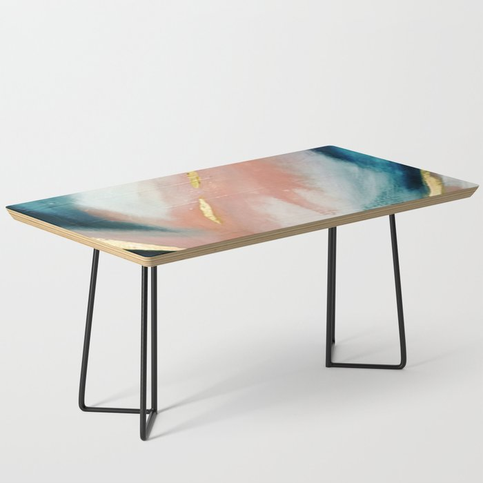 Celestial [3]: a minimal abstract mixed-media piece in Pink, Blue, and gold by Alyssa Hamilton Art Coffee Table