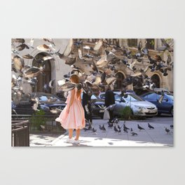 The Girl with Doves Canvas Print