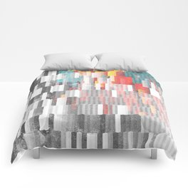 Vibrant Graffity on Black and White Geometry Comforters