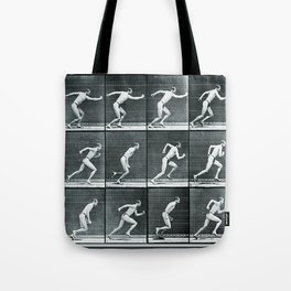 Time Lapse Motion Study Man Running Monochrome Tote Bag
