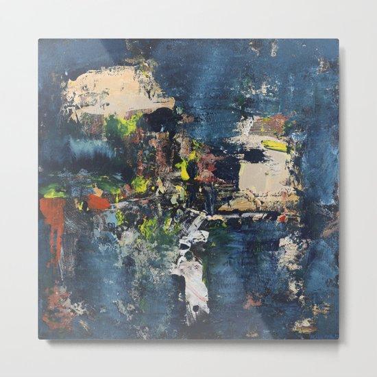 Peacock Blue Abstract Painting Vibrant Modern Art Metal Print