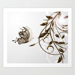 Butterfly Brown Butterfly In The Sun Art Print