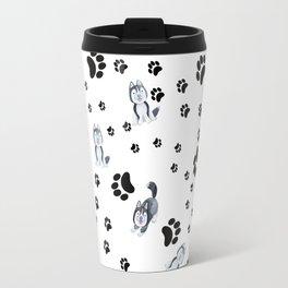Hand painted watercolor black white dog paw's pattern Travel Mug