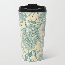 Garden Bliss - in teal & cream Travel Mug