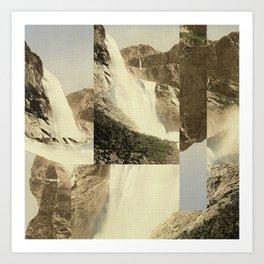 Digital Waterfall Collage Art Print