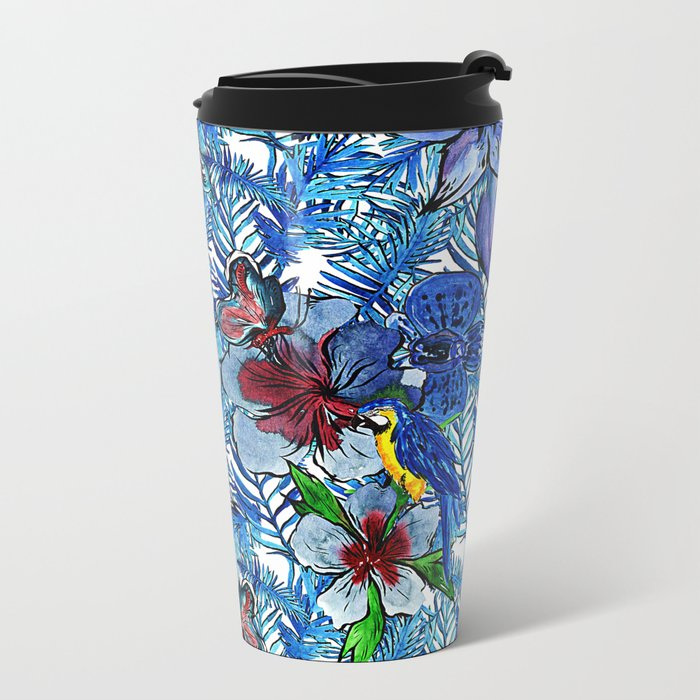 Aloha - Tropical blue Palm Leaf Flower and Bird Pattern Metal Travel Mug