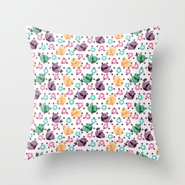 Freely Birds Flying - Fly Away Version 3 - Sangria Purple Dots Color Throw Pillow