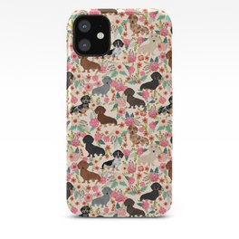 Dachshund floral dog breed pet patterns doxie dachsie gifts must haves iPhone Case
