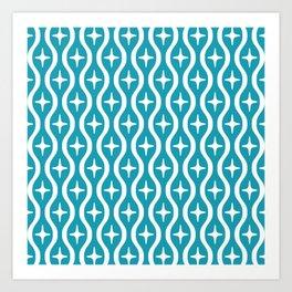 Mid century Modern Bulbous Star Pattern Turquoise Art Print