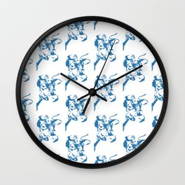 Follow the Herd - All Over Blue #761 Wall Clock