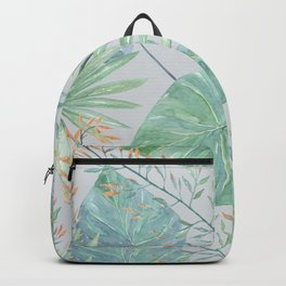 Tropical pattern on light grey background. Backpack