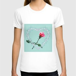 Heart with pink rose T-shirt