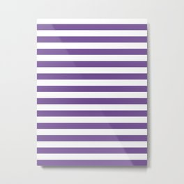 Narrow Horizontal Stripes - White and Dark Lavender Violet Metal Print