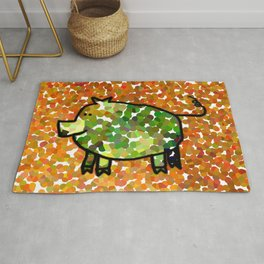 Year of the Pig 2019 - Green Pig on Yellow Rug