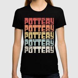 Retro 70s POTTERY Text T-shirt