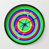 lsd Wall Clocks featuring LSD rainbowdrops by moleculestore