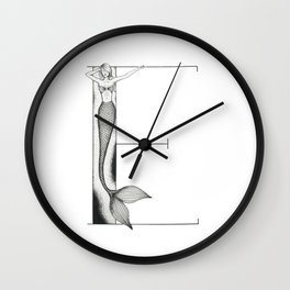 Mermaid Alphabet - E Wall Clock