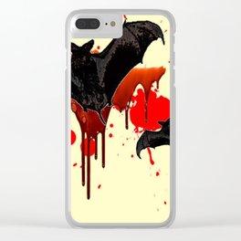 DECORATIVE FLYING BLACK BATS & HALLOWEEN BLOODY ART Clear iPhone Case