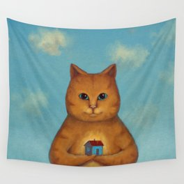 Every Cat need a Home. Ginger Cat Illustration Wall Tapestry
