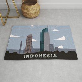 Jakarta, Indonesia - Retro travel minimalistic poster Rug