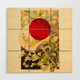 Japanese Ginkgo Hand Fan Vintage Illustration Wood Wall Art