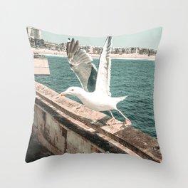Seagull Taking Flight // California West Coast Pier Vibes Beach Ocean Surf City USA Throw Pillow