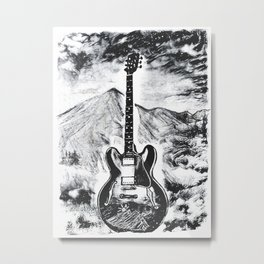 Guitar Art, Gibson ES-335, Rock & Roll Decor, Music Artwork Metal Print