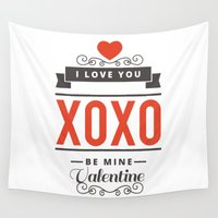 valentines Wall Tapestries featuring Valentines Day by cat&wolf