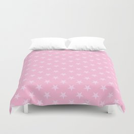Pink Lace Pink on Cotton Candy Pink Stars Duvet Cover