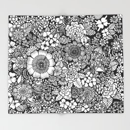 Blackand White Floral Line Drawing Throw Blanket