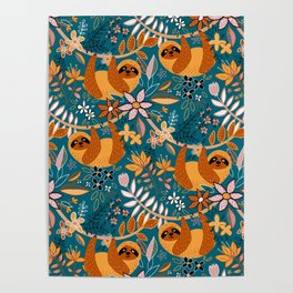 Happy Boho Sloth Floral Poster