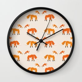 Cute Kissing Fox Couple Illustration with Light Background Wall Clock