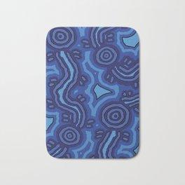 Authentic Aboriginal Art - Blue Campsites Bath Mat