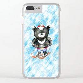 Bear on ski Clear iPhone Case
