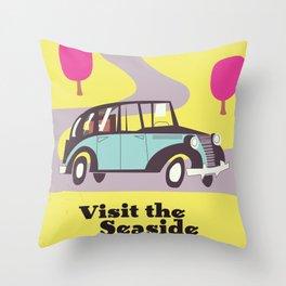 Visit the Seaside vintage car poster Throw Pillow