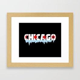 Chicago Flag Skyline Framed Art Print