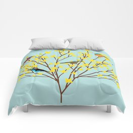 birds on forsythia bush designed for bird and nature lovers Comforters