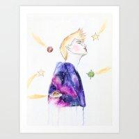 le petit prince Art Prints featuring Le Petit Prince by Bleu Cha